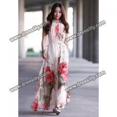 bc4b7be4c93f New Summer Elegant Boho Lotus Leaf Big Hem Chiffon Maxi Flowers Dress Long  Dress