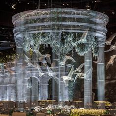 Sculptor Fills Pavilion with Stunning Series of Wire Mesh Architecture Wedding Backdrop Design, Wedding Decorations, Stage Design, Event Design, Light Installation, Art Installations, Wire Mesh, Sculpture Art, Metal Sculptures