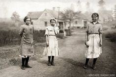 Photo of three young cotton mill workers 8x12 by VintageShowcase, $8.00
