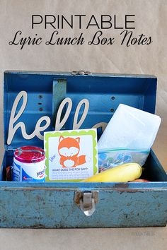 Printable Lunch Box Notes using popular song lyrics. Cute idea for school lunches.