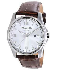 Kenneth Cole New York Watch, Men's Brown Croc-Embossed Leather Strap 43mm KC1866
