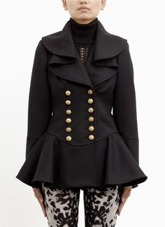 ALEXANDER MCQUEEN - Wool ruffle double-breasted military coat | Black Tailored Jackets | Womenswear | Lane Crawford - Shop Designer Brands Online