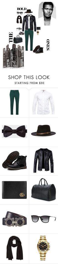 """""""Boys InTown"""" by kingscott24 ❤ liked on Polyvore featuring Topman, Ted Baker, Paul Smith, Bailey, Gucci, Valentino, Salvatore Ferragamo, Ray-Ban, rag & bone and Rolex"""