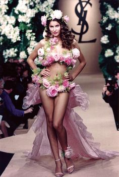 Who needs lingerie when you can just wear roses?! ;-)  (Yves Saint Laurent - Laetitia Casta)