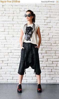 SALE Black Linen Capris/Loose Drop Crotch Pants/Linen Harem Pants/Extravagant Gypsy Pants/Ankle Trousers/Summer Black Pants/Plus Size Pants
