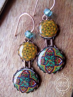 Mexican Talavera plate dangle earrings statement by CorinaCrooks