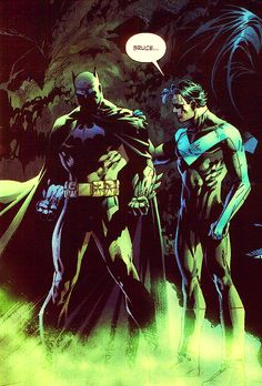 Batman and Nightwing during the Hush storyline. Jim Lee is amazing Comic Book Artists, Comic Book Characters, Comic Book Heroes, Comic Books Art, Comic Art, Batman Art, Batman And Superman, Batman Robin, Nightwing