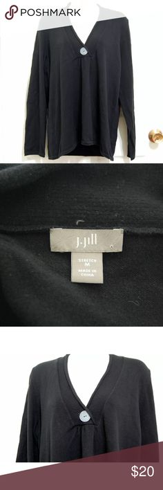 "J. Jill black V-neck Sweater J. Jill Sweater  Color: Black Sleeve: Long Sleeve  Embellishment: Decorative Button Size: M 79% Cotton, 18% Nylon, 3% Spandex MachineWash Gently used condition. No stains or tears. Has some minor pilling.  Length- 25""  Underarm to underarm doubled, laid flat-41""  Sleeve Length-24"" J. Jill Sweaters V-Necks"
