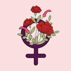 Woman symbol with flowers and leaves vector free vector - Venus Symbol, Girl Sign, Ecole Art, Leaves Vector, Feminist Art, Woman Drawing, Flower Designs, Bunt, Flower Power