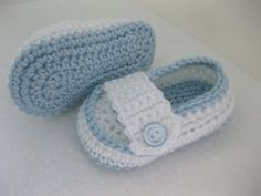 Baby Boy Christening Booties Light Blue & White Crochet