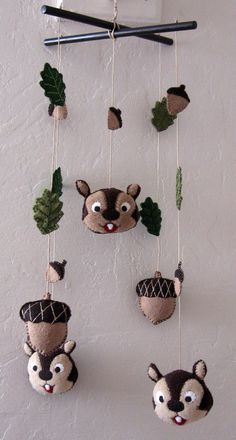 Cute—Mobile Chipmunks Acorns & Leaves by EvelynX