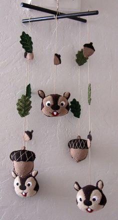 Cute—Mobile Chipmunks Acorns & Leaves by EvelynX
