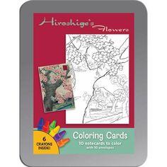 Hiroshige Flowers Japanese Colouring Card Set