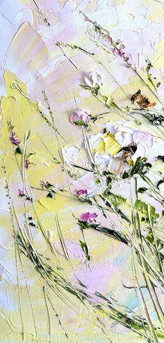 Купить Картина маслом на желтом фоне яркая красные белые розовые цветы розы
