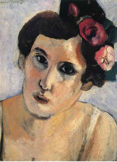 Henri Matisse - Woman's Head, Flowers in Her Hair 1917