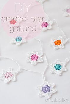 Crochet star garland, free PDF pattern, a perfect handmade Christmas…
