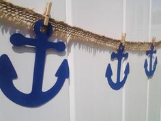 Anchor decor, birthday decor, party garland, anchors away, under the sea party, beach party, nautical party decor, burlap decor, summer