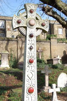 Decorated Cross at the Brompton Cemetery, London, England