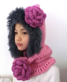 Girl's Hoody HatNeck Warmer Gift Set/Crochet by PrincessInDreams