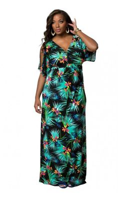 Kiyonna Coastal Cold Shoulder Dress in Tropical Palm Print Beautiful Maxi Dresses, Palm Print, Coastal, Cold Shoulder Dress, Tropical, Plus Size, Fashion, Moda, La Mode