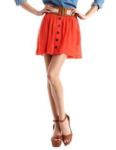 Crochet Belt Button-Front Skirt: Charlotte Russe