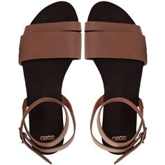 ASOS FORMAT Leather Flat Sandals ($37) ❤ liked on Polyvore featuring shoes, sandals, flats, обувь, shoes - sandals, tan, ankle wrap flats, tan flat sandals, leather sandals and open toe sandals