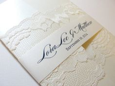 Lace wedding invite -vintage and romantic with a modern feel