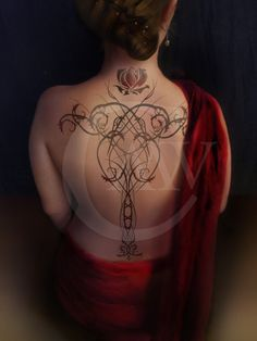 """""""The thorny lines were stark black, accented in only a few choice hollows with a teardrop of scarlet - a petal, a drop of blood, the mote in my eye.""""-Kushiel's Dart, Jacqueline CareyMy take (one of many) on Phedre's marque. I redesign it regularly. This one was very into the thorny idea."""
