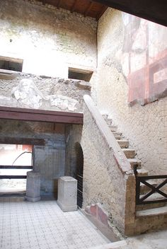 Herculaneum - they had a baby or small children.  Look at the gate at the bottom of the stairs.