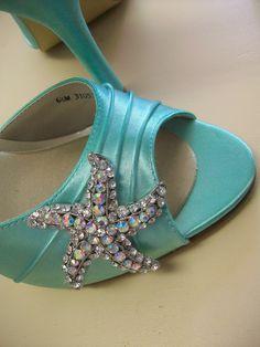Blue Wedding Shoes Beach Wedding Tiffany Blue Wedding Bridal Bride High Heels Prom Special Occasion Peep Toe The Mermaid Shoe. $184.00, via Etsy.