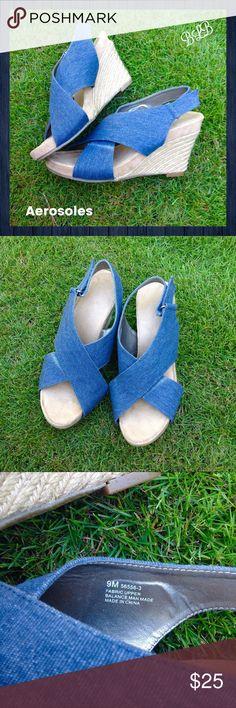 "Aerosoles Blue like-denim sandal wedges  Aerosoles 4"" Wedge Sandals / Heels looks like rope and upper fabric looks like denim / buckle at heel / very good condition / size 9M AEROSOLES Shoes Wedges"