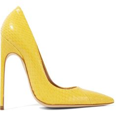 Brian Atwood Elaphe pumps (£670) ❤ liked on Polyvore featuring shoes, pumps, bright yellow, yellow stiletto pumps, yellow shoes, stiletto pumps, brian atwood pumps and pointed toe high heels stilettos