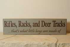 Rifles Racks And Deer Tracks hunting sign by englertandenglert, $20.00