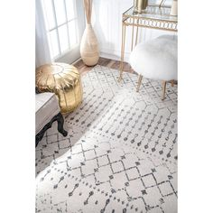 Handsomely crafted with a geometric grey lattice pattern over an ivory background, this lofty area rug is a marvelous addition to any home. The rug is durably constructed from polypropylene to ensure longevity. Features: Machine-made with polypropylene Beaded Moroccan trellis pattern Ivory and grey colors Style: Casual: Casual design is all in the name. Laid-back with no frills, casual style rugs cater to simplicity, with simple or no patterns at all. A casual area rug is a great choice for area Farmhouse Area Rugs, Modern Farmhouse, Farmhouse Style Rugs, Grey And White Rug, Gray, White Rugs, Trellis Rug, Trellis Pattern, Affordable Rugs