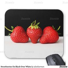 Strawberries On Black Over White Mouse Pad