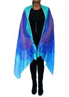 Eagle Wings Scarf, Artistic Gift, Resort wear, Feathers Scarf, Burning Man Clothing, Festival Wrap. Original Australian design digital print by PacificBreezeAust on Etsy