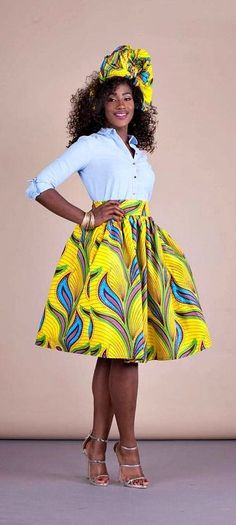 """Yello Skirt. Relaxed yet sophisticated and, best of all, universally flattering – just look how it nips in the waist – a full, high waisted skirt is an instant game-changer with two side pockets and approximately 2"""" waist band.     Ankara 
