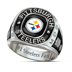 NFL Pittsburgh Steelers Five-Piece Decanter Set With Glasses Steelers Rings, Steelers Gear, Steelers Football, Steelers Stuff, Football Rings, Football Memes, Pittsburgh Steelers Merchandise, Mens Stainless Steel Rings