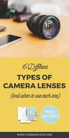 Learn which different types of camera lenses you can get, and when you should use each one in this camera lens guide   photography gear   Lenses for Canon   Lenses for Nikon