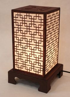 Mulberry Rice Paper Shade Lattice Pattern Korean Window Design Square Handmade Lantern Brown Asian Oriental Decorative Bedside Accent Unusual Table Lamp Antique Alive Paper Lamp http://www.amazon.com/dp/B0084LGASS/ref=cm_sw_r_pi_dp_doDRub0J272MP
