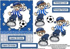 Football crazy blue on Craftsuprint designed by Carol Smith - a decoupage sheet for the young football fan has the budding football star about to kick the ball this version is in blue and white, matching tags say happy birthday, football fanatic and football crazy also a blank tag for the greeting of your choice.thank you for looking please take a peek at my other items - Now available for download!