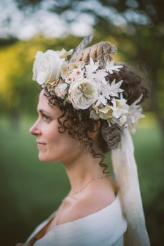 Katie Burley Millinery and Dark + Diamond Floral Design, Beacon, NY. Handmade flower crown. Vintage silk millinery flowers, feathers and garden roses.