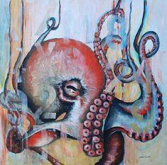 """Saatchi Online Artist Lawn Walker; Painting, """"Octo-Pi"""" #art Colorful ocean scene, underwater octopus, octopi artwork."""