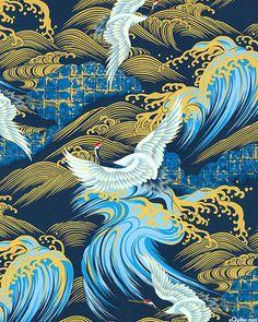 Nobu Fujiyama Soaring - Tidal Cranes - Quilt Fabrics from www.eQuilter.com