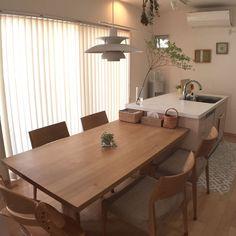 Living Room Korean Style, Apartment Interior, Room Interior, Home Decor Kitchen, Kitchen Interior, Dining Room Design, Dining Area, Bright Homes, Minimalist Room