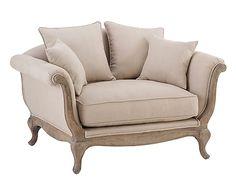 Sofá de madera de haya y lino Pompadour