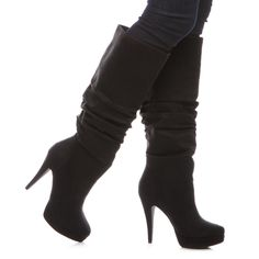 Black suede knee high boots - $39.95