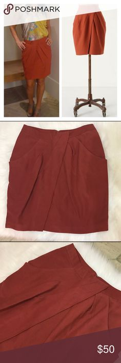 "Anthropologie Fei Burnt Orange Washi Wrap Skirt 12 Super cute draped skirt, reminds me of origami! Color: Terracota. Has pockets and back slit.  Waist 15.5"", hips 19.5"", length 19.5"". Reasonable offers are welcome. Anthropologie Skirts"