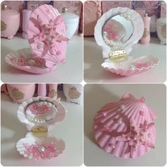 Mermaid compact mirror by PastelUnicornStore on Etsy.I would love this only in another color. Nothing against pink but I think purple, blue or possibly white would be better. Seashell Art, Seashell Crafts, Beach Crafts, Crafts To Do, Crafts For Kids, Arts And Crafts, Diy Crafts, Mermaid Crafts, Mermaid Diy