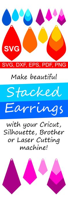 Stacked Earrings SVG cut files for Cricut and Silhouette, Earring templates for paper, cardboard, leather, faux leather